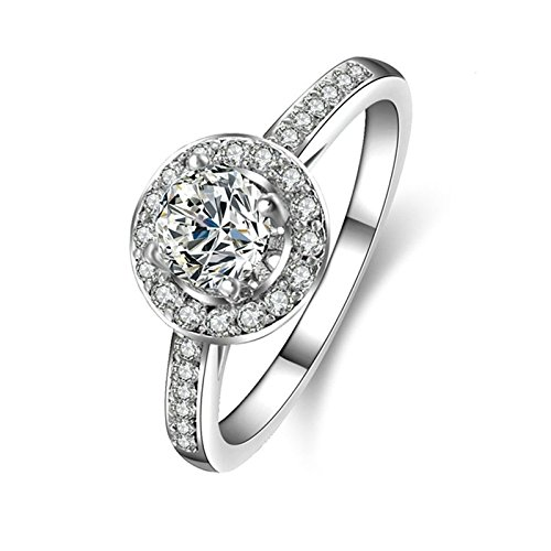 SonMo Ring Silber 925 Verlobungsring Paarringe Hochzeit Ring Solitär Ring Weiß Ring Diamant Zirkonia Ring Damen Größe 64 (20.4)