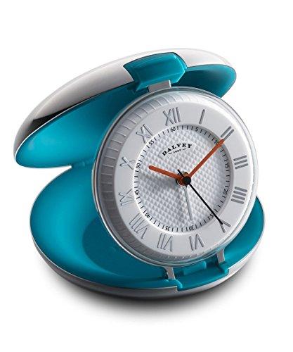 DALVEY Kapsel Reise -Uhr mit Stahlgehäuse und blaugrün Innenraum