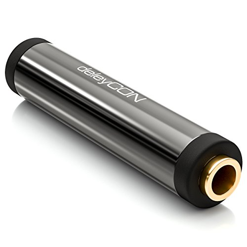 deleyCON Stereo Audio Klinken Kupplung Adapter - 3,5mm Klinken Buchse zu 3,5mm Klinken Buchse - Metall - Vergoldet - Schwarz