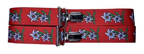 Trachtenhosenträger Hosenträger Edelweiss (Rot)