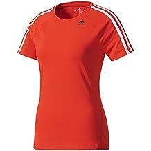 adidas D2m Tee 3s Camiseta de Manga Corta, Mujer, Rojo (Rojbas),