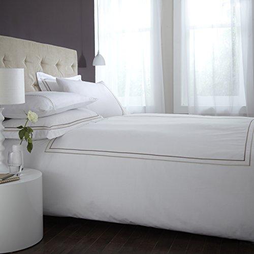 HLS Bedding Weiß Hotel Collection Charlotte Thomas Mayfair 100% Baumwolle Bettwäsche Bettbezug 2Kissenbezüge Set, Schokolade/Gold-King Size -
