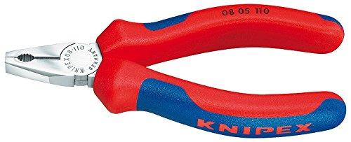 KNIPEX 08 05 110 Mini-Kombizange verchromt mit Mehrkomponenten-Hüllen 110 mm