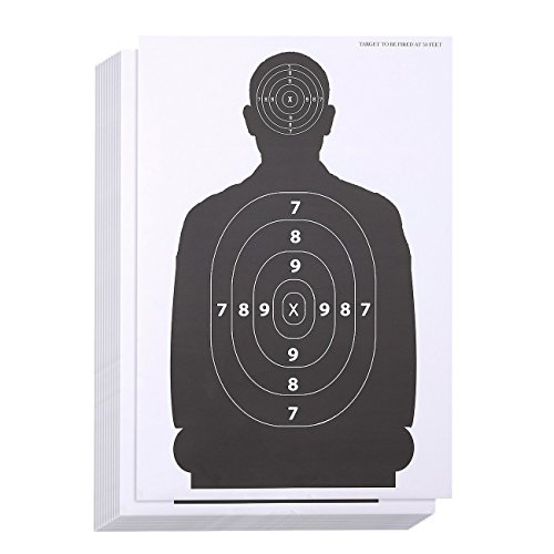 LÖ SchießzielblätterPapierschießen Ziele, Zielsortiment für Waffen, Flinten, Pistolen, Flinten, BB Airsoft Schießübungen43,2 x 63,5 cm , 50 Silhouetten schwarz / weiß