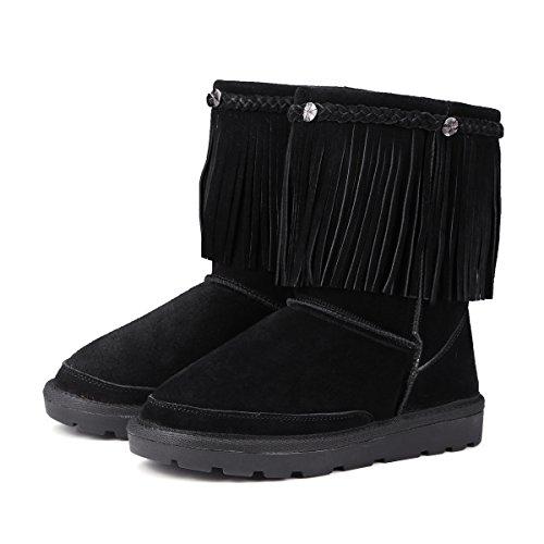NSXZ in pelle antiscivolo stivali nappa invernali di spessore scarponi da neve caldi delle donne , 120W BLACK-35