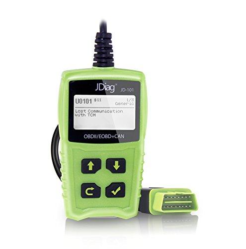 JDiag OBD2 auto diagnostica OBD II Code Scanner EOBD per tutti i veicoli a partire dal 2000, con interfaccia standard 16 Pin OBD II … (verde)