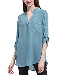Summer Ladies Sweatshirt Chifón Camisas Tops T-Shirt Camisa Sólido Color Suelto Larga con Especial