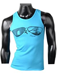 Herren Tanktop Tank top Muskelshirt Fitness T shirt Achselshirt Brille