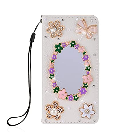 SmartLegend Bling PU Cover Apple iPhone SE iPhone 5/5S Phone Case Wallet Lanyard Strap Carrying Glitter Rhinestone Stylish Smartphone Leather Flip Case Stand Function Cellphone Bumper with Back Magnet Closure and Card Slots Holster Bookstyle Mobile Phone Protective Cover - White Mirror