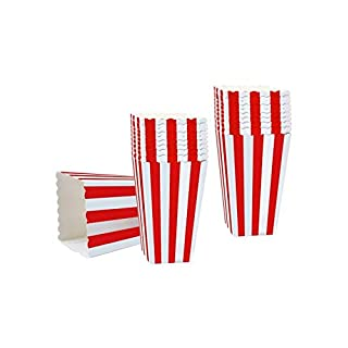 Alohha Popcorn Favor Boxes, 50PCS Striped Paper Popcorn Boxes Cardboard Candy Container for Birthday Theater Themed Parties Movie Nights Carnivals, Red And White 3.3 X 5.6 Inches