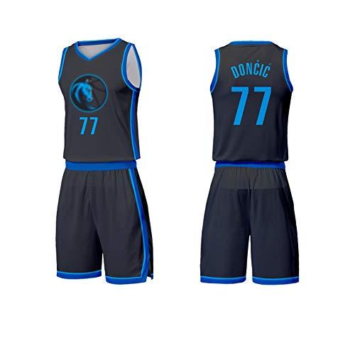 Luka Doncic Kinder Basketball Trikot, Mavericks 77 Basketball Shirt Weste Top Sommer Shorts für Jungen und Mädchen-Black A-L(160.165CM)