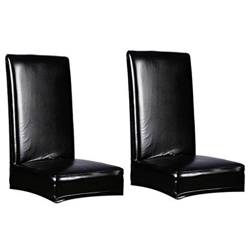 Gazechimp 2x Einfarbige Elastische Stuhlhussen Stuhlbezug Stretch Hussen -Schwarz