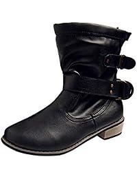 Logobeing Botas Mujer Invierno Botines de Tacon Cómodo Calzado Botas de Mujer  Zapatos Mujer Botas Altas Mujer Cuña Plataforma Moda… 4b12da0f76194