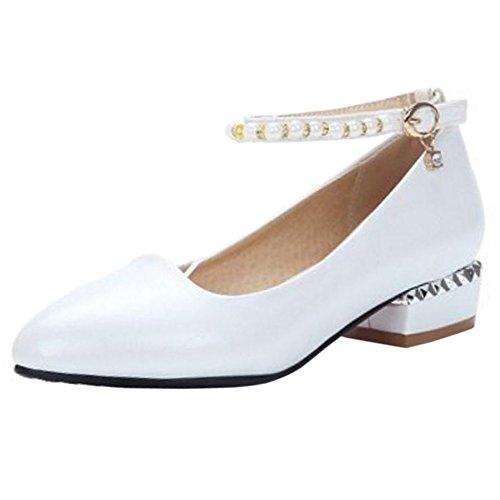 TAOFFEN Femmes Fete Pointu Escarpins white