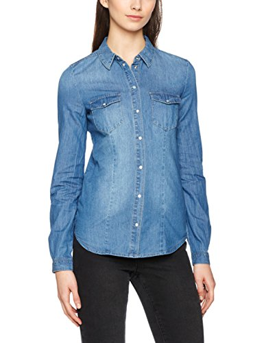 Only Onlrock It Fit Mb Dnm Shirt Bj7887 Noos, Chemise Femme Bleu (Medium Blue Denim)