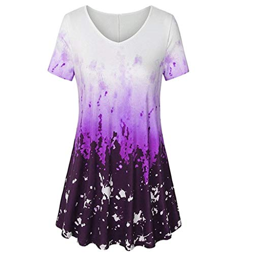 T-Shirt mit V-Ausschnitt Kurzarm A-Linie mit abgerundetem Saum Abbindebatik Geschäft Tunika Bluse(Lila,L) ()