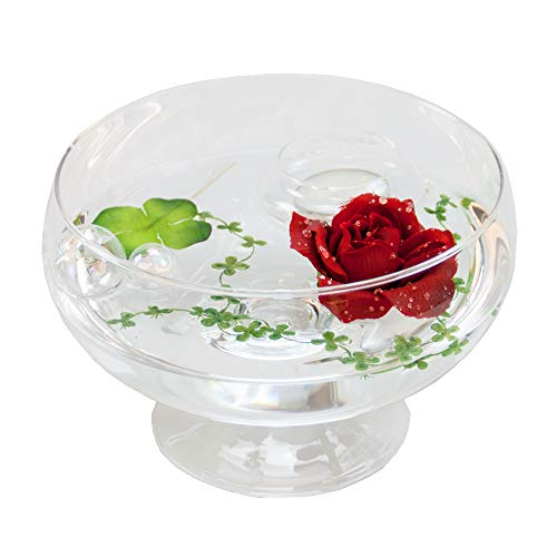 Glass Bowl Roxy ,11 H 75 CM; diameter: 17 CM, with Decorative Red Rose (Large) by GlaskönigÃ'® Komplett Angebote