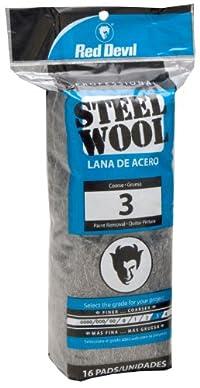 Red Devil 0316 Steel Wool, 3 Coarse, (Pack of 16)