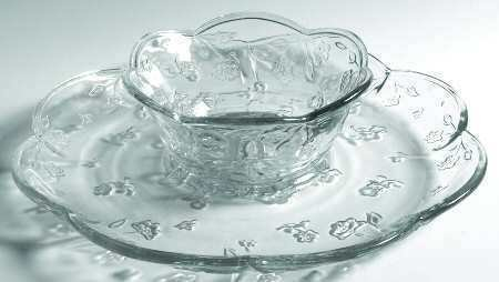 Anchor Hocking Savannah Chip and Dip Set (Turn Upside Down for Cake / Dessert Platter) ~ Clear Glass Floral Pattern ~ 2 Piece Set: 12 Inch Platter and 6.25 Inch Bowl by Anchor Hocking Anchor Hocking Dessert