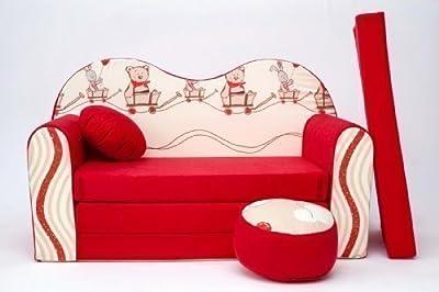 Kids Sofa Bed Futon Childs Furniture+free Pouffe/footstool&pillow (d26)
