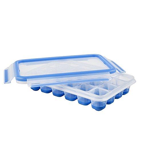 emsa eiswuerfelbehaelter Emsa Clip und Close Eiswürfelbox mit Deckel, kunstoff, transparent/blau, 24 Würfelfächer