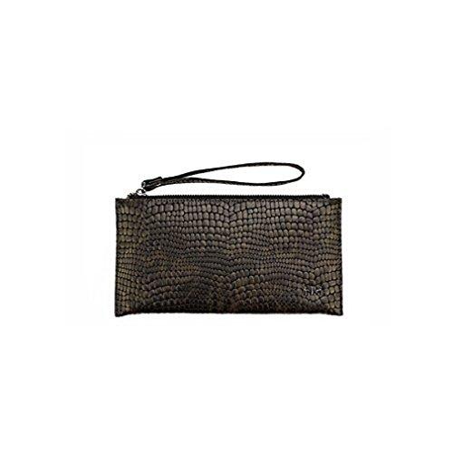 Damen Tasche Clutch von IKKI in Echtleder Größe 23 x12 cm in Kroko style Farbe black grey