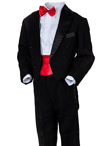 gen Smoking in vielen Farben mit Hose, Hemd, Weste oder Kummerbund, Fliege und Jacke M314kswrt Kummerbund Schwarz Rot Gr. 9 / 134 (Jungen Smoking)