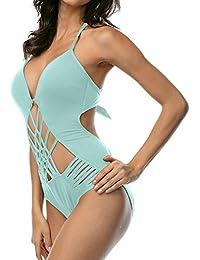 DUSISHIDAN Damen Einteilige Bademode Tief-V Bikini Badeanzug Push up, Sexy  Badebekleidung mit Verstellbarer a3d38713a0