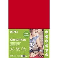 APLI 14239 - Cartulina 170g A4 50 hojas, color rojo