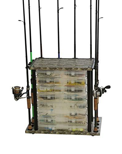 Organisiertes Angeln Mini Typhoon Boden Angelrutenaufbewahrung Offene Schlitze für 8 Utility Boxen & 12 Ruten, Angel-Organizer, Aufbewahrungslösung, 21,26 x 20,2 x 11,8 cm, Camouflage (Utility-organizer-box)