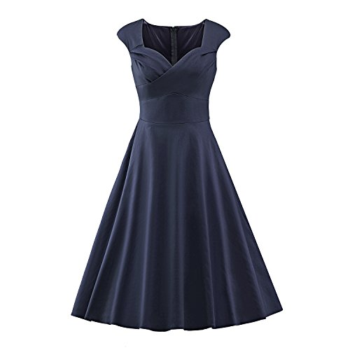 LUOUSE Damen Audrey Hepburn 50s Retro Vintage Bubble Skirt Rockabilly Swing Evening Kleider,NavyBlue,XL