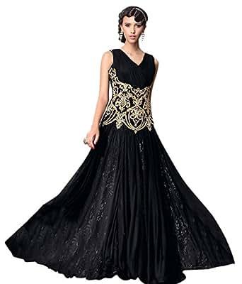 The Fashion Hub Women's Net & Santoon Anarkali Suit Dress Material (FH1130_Black)