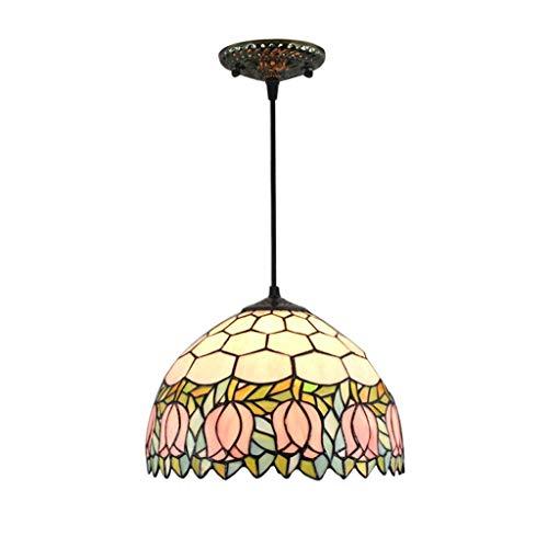 GWFVA Pendelleuchte, 12-Zoll-Tiffany-Stil Kronleuchter, Glasmalerei Handgefertigter Lampenschirm Blumenmuster Tulpen Hängeleuchte für Wohnzimmer Bar Dekoration Beleuchtung -