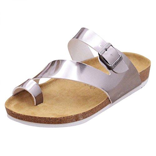 Sandali Infradito Sughero - Flip Flop Donna - Pantofole Eleganti Ciabatte Comodi Argento
