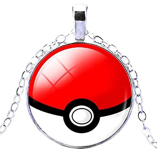 Cartoon Kostüm Schnelle Charakter - KIRALOVE Halskette Pokemon Go Sphere Pokeball Trap Kinder Jungen Damen Herren Unisex Kostüm Schmuck (Rot Weiß)