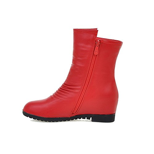 AllhqFashion Damen Rein Metallisch Reißverschluss Mittler Absatz Stiefel, Rot, 36