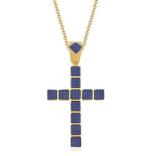 silvernshine Jewels 1,25ct rund Tansanit Kreuz Anhänger 45,7cm Kette Halskette in 14K Gelb Gold FN (Kreuz Tansanit Halskette)