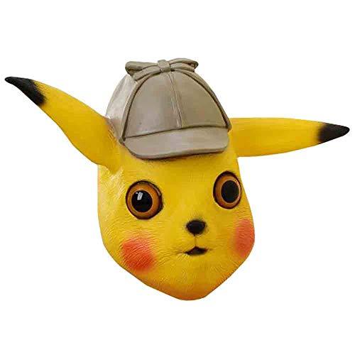 Xgsco Pikachu Latex Maske, Halloween Kostüm Party Fashion Show Cosplay Tier Kopfbedeckung Kind Erwachsene Party, Festival Dekoration Maske für Männer/Frauen (Niedlich Pikachu Kostüm Frauen)
