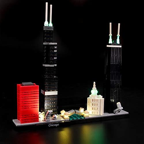 LIGHTAILING Conjunto de Luces (Architecture Chicago) Modelo de Construcción de Bloques - Kit de luz LED Compatible con Lego 21033 (NO Incluido en el Modelo)