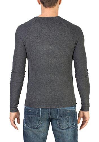 Timezone Herren Basic Light Knit Pullover Schwarz (Anthracite Melange 9040)