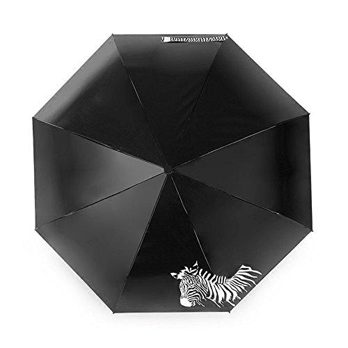 CHRISLZ Weltkarte Regenschirm Automatische Regenschirm Faltbar Sonnenschutz Regenschirm Winddichte Taschenschirm/Dreimal faltbarer /Wasser wechselnde Farbe  /Schwarzer Gummi Zebra Regenschirm (Zebra)