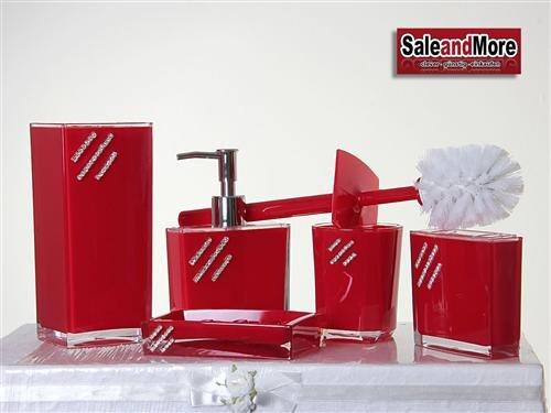 5 tlg. Badezimmer Set Bad Seifenspender Accessoire Set WC Set Rot mit Steine