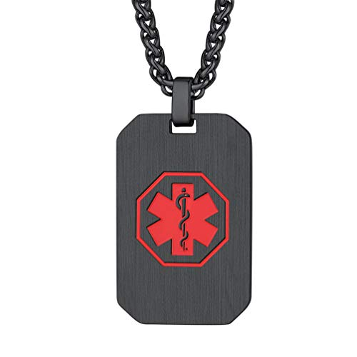 rt ID Kette Schmuck schwarz-Silber Erkennungsmarke mit roten Symbol Stern des Lebens SOS Notfall DIY Dog Tag Epilepsie Allergie Patienten ()