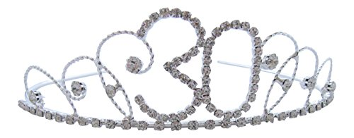 Pick A Gem Hair Accessories Silver Diamante Crystal 30th Birthday Tiara Crown / Happy 30th Birhday