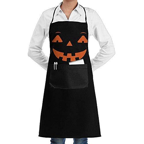 lloween Pumpkin 1 Adjustable Bib Kitchen Apron with Front Pocket for Men Women ()