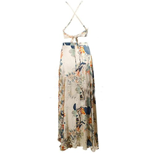Damen Ärmellos Drucken Maxi Kleid, ZEZKT Lang Sommerkleid Strandkleid doppel Schulterriemen (M) (Chiffon Maxi-kleid Drucken)