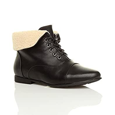 Womens Ladies Low Heel Flat Lace up Vintage Pixie Ankle Boots Size 3 36