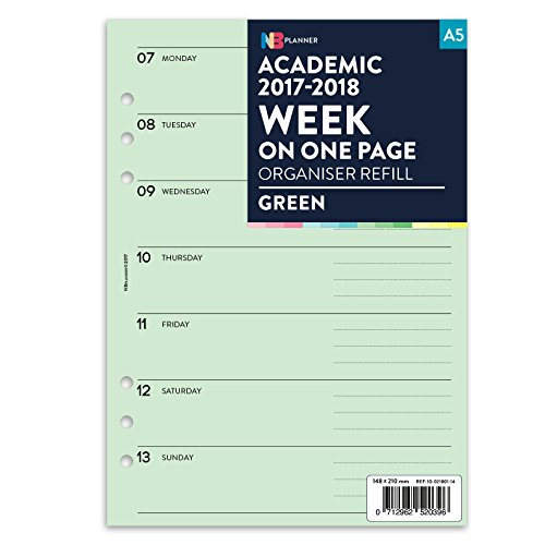 academic-20172018semaine-sur-une-page-planner-recharge-insert-english-filofax-a5compatible-green