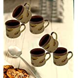 Beautiful Newest Design Handmade Clay Coffee/Tea Mug Decorated Pottery Art Ceramic Serving Mug Use For Tea Serving, Coffee Serving, Hot Water Serving And Gifting Purpose (06 Pcs.)