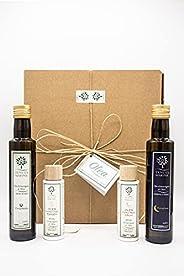 Box Confezione Regalo Olea - Set di 2 Bottiglie di Olio EVO, 1 Crema Corpo naturale e 1 Crema Mani naturale, c